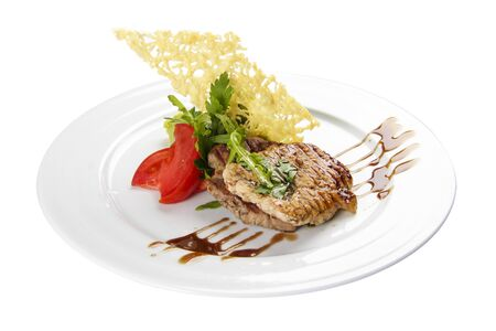 Pork medallions. Traditional Italian dish 스톡 콘텐츠