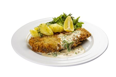 Wiener Schnitzel. On a white background