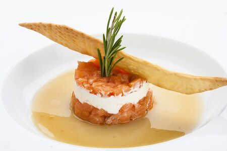 Tartar of salmon with soft cheese Stock Photo