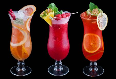 The original fruit cocktail on a black background 免版税图像 - 128865426