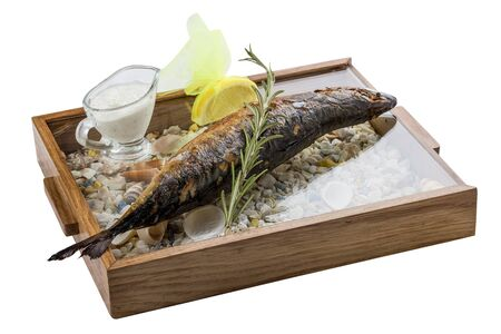 Grilled mackerel with rosemary and gravy. On white background. Stok Fotoğraf - 130051281