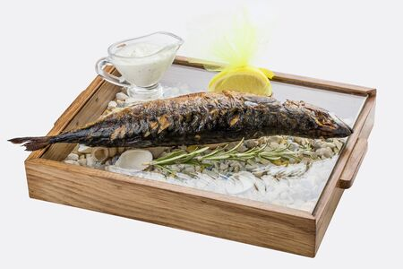 Grilled mackerel with rosemary and gravy. On white background. Stockfoto - 130051383