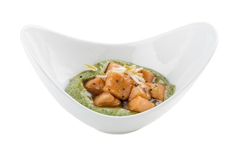 Salmon in sweet and sour sauce with mashed potatoes . Vegetarian dish. On white background