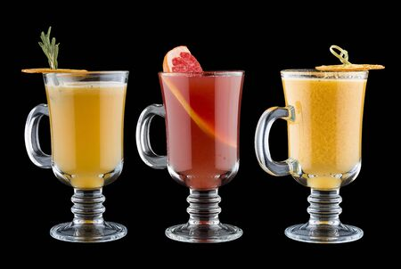 Set of warming drinks on dark background. Sbiten. Russian traditional cuisine. Imagens