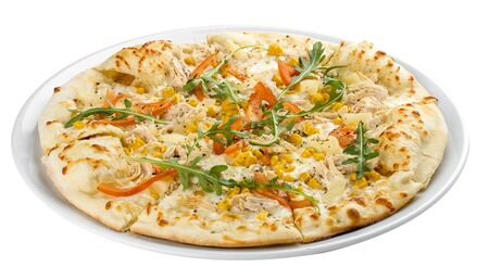 Pizza with chicken and pineapple. On a white background
