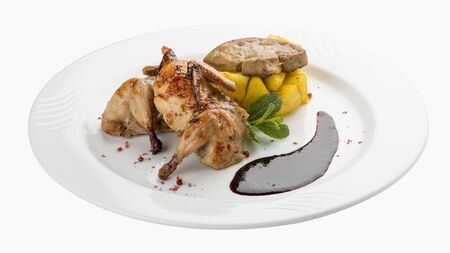 Quail with berry sauce. On white background 스톡 콘텐츠 - 131591202