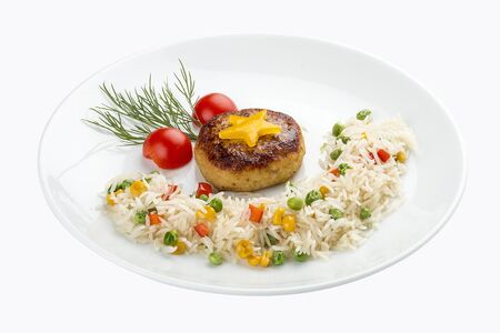 Childrens menu. Fish cutlet with rice and vegetables. On white background