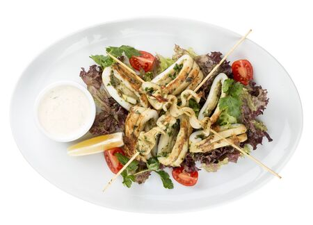 Squid grilled on skewers, with salad and sauce. On white background 스톡 콘텐츠 - 131591071
