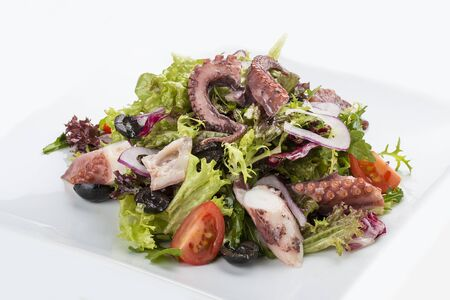 Salad with squid and octopus on a white background 스톡 콘텐츠 - 131590666