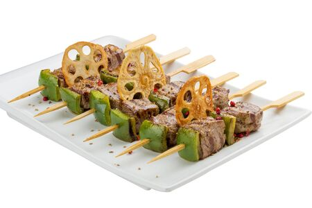 Satay chicken skewers with lime and chili. 스톡 콘텐츠 - 131591161