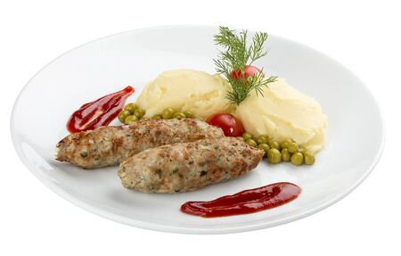 Childrens menu. Veal chops with mashed potatoes. On white background
