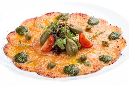 Salmon carpaccio with capers. On white background 스톡 콘텐츠 - 131591160