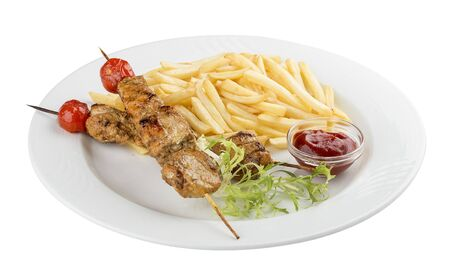 French fries with chicken skewer with red sauce. On white background 스톡 콘텐츠 - 131591327