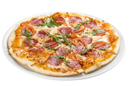 Pizza with salami and bell peppers. On a white background 스톡 콘텐츠 - 131591109