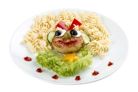 Childrens menu. Chicken cutlet with pasta and salad. On a white background