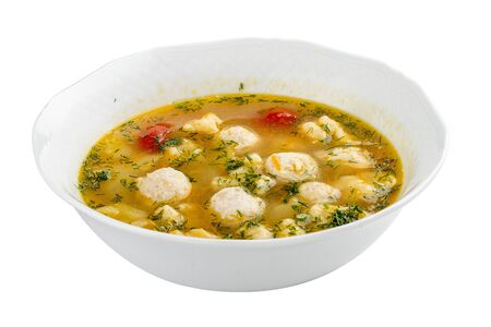 Soup with turkey meatballs. On a white background 스톡 콘텐츠 - 131590657