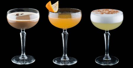 Original cocktails on a dark background.