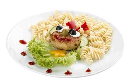 Children's menu. Chicken cutlet with pasta and salad. On a white background 스톡 콘텐츠 - 131604711