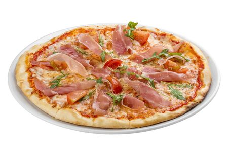 Pizza with prosciutto and arugula. On white background 스톡 콘텐츠 - 131604910