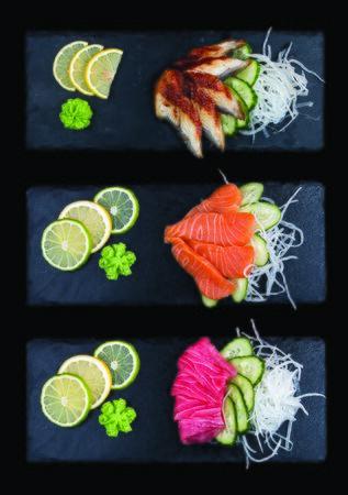 Sashimi set: eel, salmon, tuna. On dark background 스톡 콘텐츠