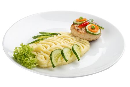 Childrens menu. Turkey cutlet with mashed potatoes. In the form of an owl. On a white background 스톡 콘텐츠