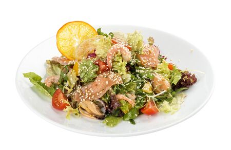 Salad with salmon and seafood. On a white background 스톡 콘텐츠 - 131599827