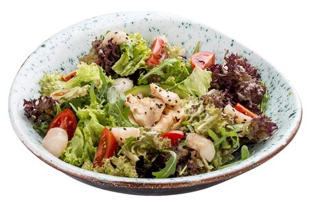 Asian salad with lychee and chicken. On white background