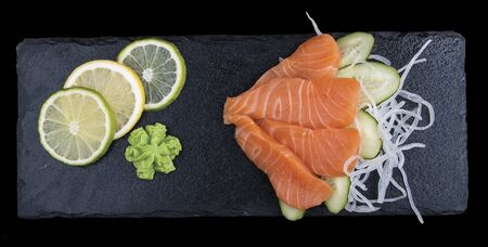 Sashimi salmon. On dark background 스톡 콘텐츠