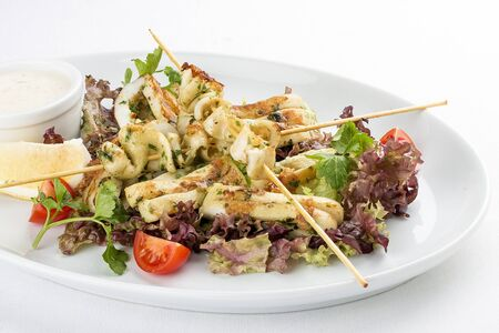 Squid grilled on skewers, with salad and sauce. On white background 스톡 콘텐츠 - 131599805
