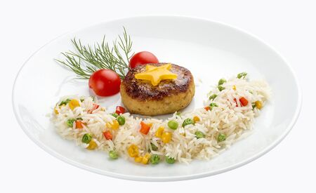 Children's menu. Fish cutlet with rice and vegetables. On white background 스톡 콘텐츠 - 131601708