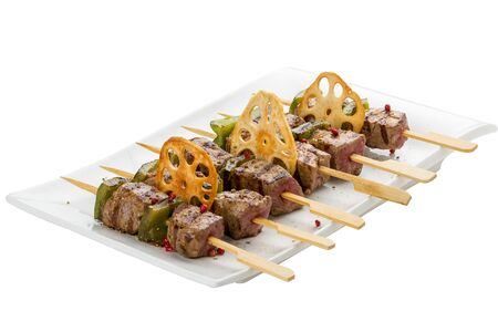 Satay chicken skewers with lime and chili. 스톡 콘텐츠 - 131599711