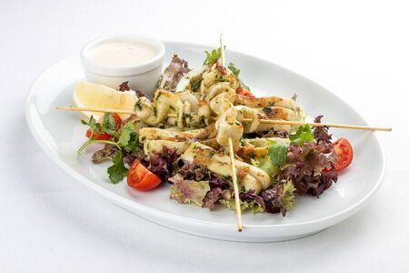Squid grilled on skewers, with salad and sauce. On white background 스톡 콘텐츠 - 131599431