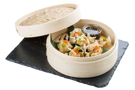 Dim Sum dumplings with shrimp and salmon. Chinese traditional food. On white background