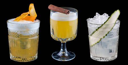 Original cocktails on a dark background.