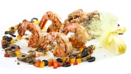 Fried king prawns with garlic sauce. On white background 스톡 콘텐츠