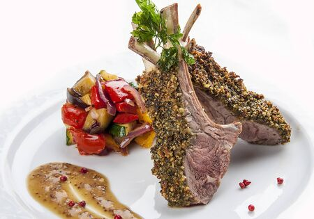 Rack of lamb on white background