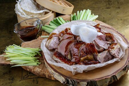 Peking duck on wooden Board