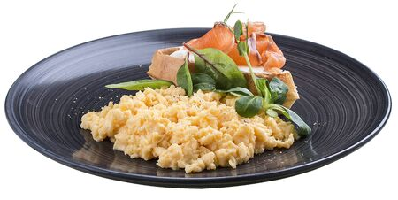 Breakfast. Scrambled eggs with salmon