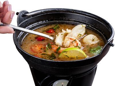 Hot and sour prawn soup (Tom Yam) Thai food
