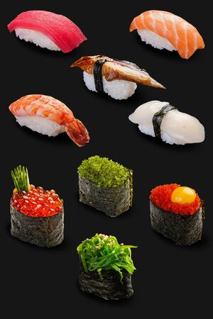 A set of Maki sushi on a dark background