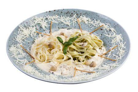 Fettuccine with mushrooms. Italian traditional pasta