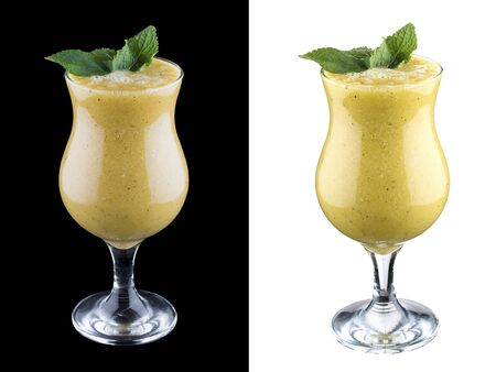 Pear smoothie on dark and white background 스톡 콘텐츠