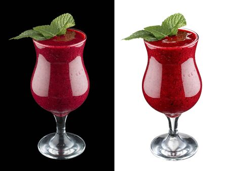 Berry smoothie on dark and white background 스톡 콘텐츠