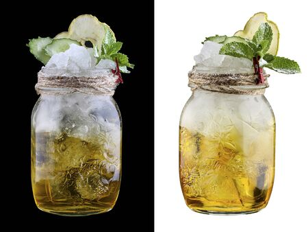 Apple lemonade with cucumber on white and dark background 스톡 콘텐츠