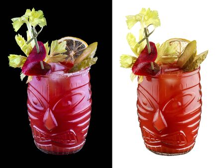 Bloody Mary on white and dark background 스톡 콘텐츠
