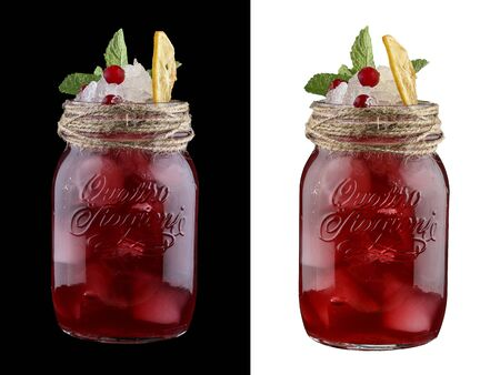 Currant lemonade on white and dark background