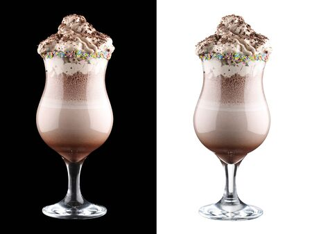 Chocolate milk shake on dark and white background 스톡 콘텐츠