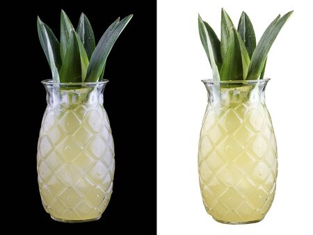 Pineapple lemonade on white and dark background
