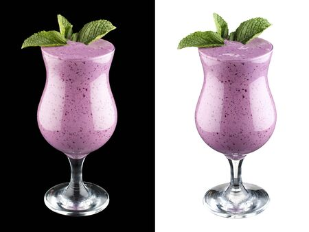 Currant smoothie on dark and white background 스톡 콘텐츠