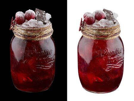 Cherry lemonade with chocolate on white and dark background
